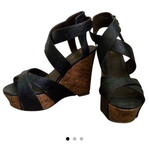 Black Strappy Cork Wedges